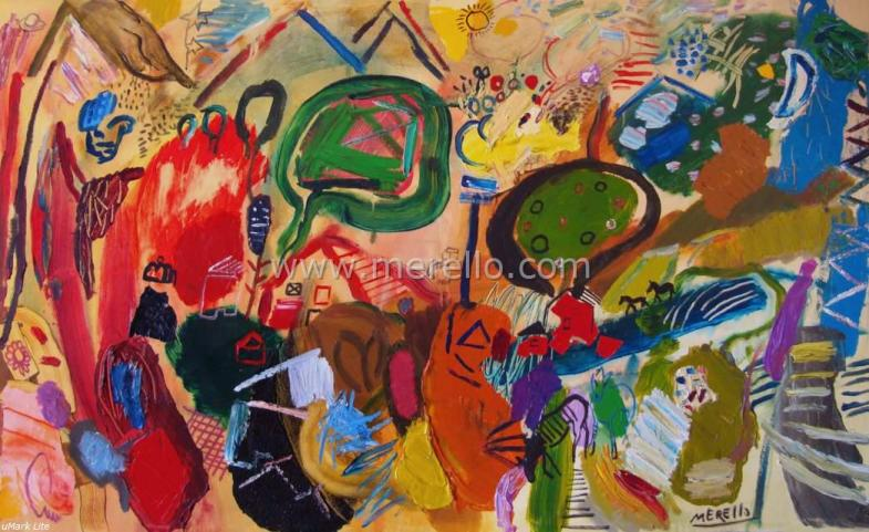 "Spanish Art. Merello.- ""Energy Landscape"" (97x162 cm) Mixed Media on Canvas. Contemporary Art. Painting."